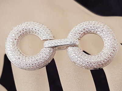 clasp 24x50mm silver rhodium plated, rhinestone