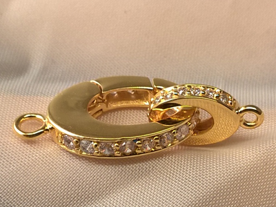 clasp 12x30mm silver gold plated, rhinestone
