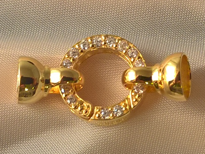 clasp 14x28mm silver gold plated, rhinestone