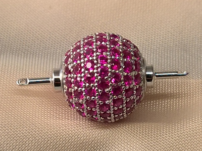 clasp 12mm silver rhodium plated, rhinestone