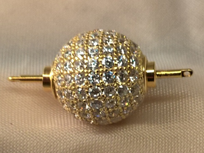 clasp 12mm silver gold plated, rhinestone