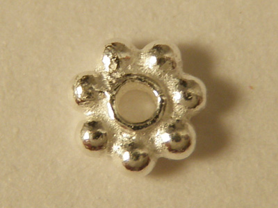 finding, flower 4x1.3mm, silver