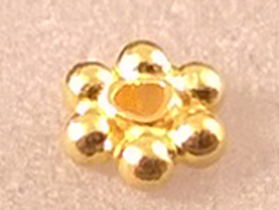 finding, flower 3.5x1.3mm, silver gold plated