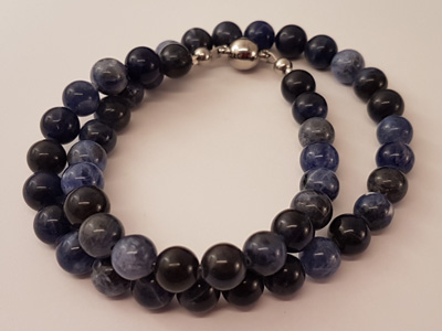 sodalite necklace faceted 8/42 w/ magnetic clasp