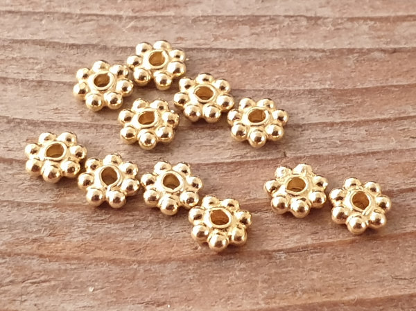 finding, flower 4x1.3mm, silver gold plated