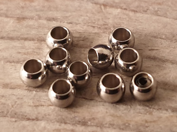 finding, beads 3x2mm (10 pcs), stainless steel