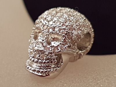 finding skull, brass silver color, rhinestone
