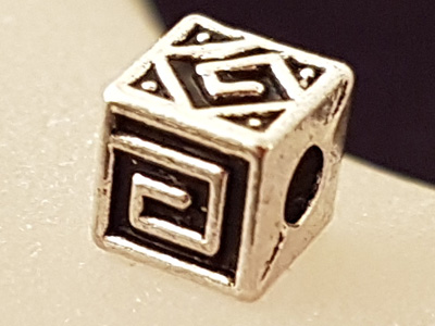 finding, bead 5.5x5.5mm, metal antik