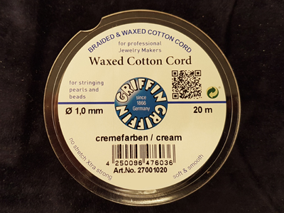 waxed cotton cord, cream, 1.0mm/20m