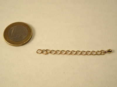 extention chain 55mm, brass gold plated
