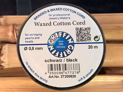waxed cotton cord, black, 0.8mm/20m