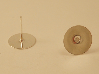 Ohrstecker 10mm (10 Stk), Messing versilbert