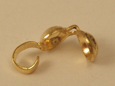 calotte 4mm open (10 pcs), brass gold plated